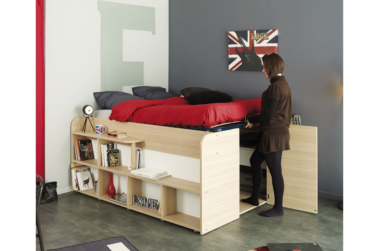 lit combin 140x200 cm gain de place roxy cbc meubles. Black Bedroom Furniture Sets. Home Design Ideas