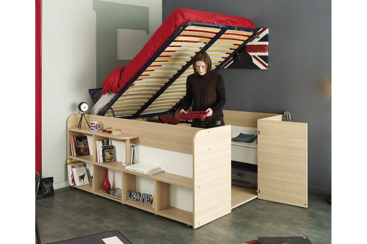 Lit combin 140x200 cm gain de place roxy cbc meubles - Lit 2 places gain de place ...
