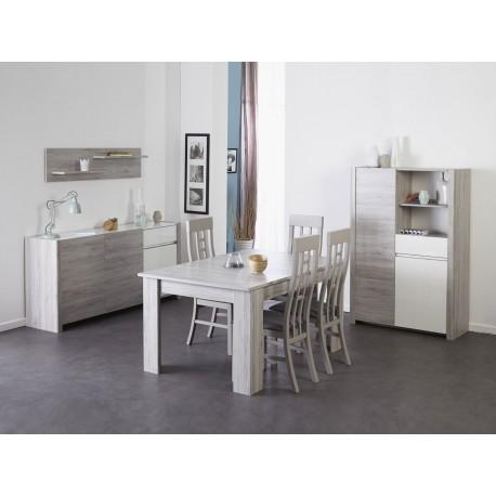 Salle manger gris portofino et blanc brillant louno cbc meubles - Salle a manger gris et blanc ...