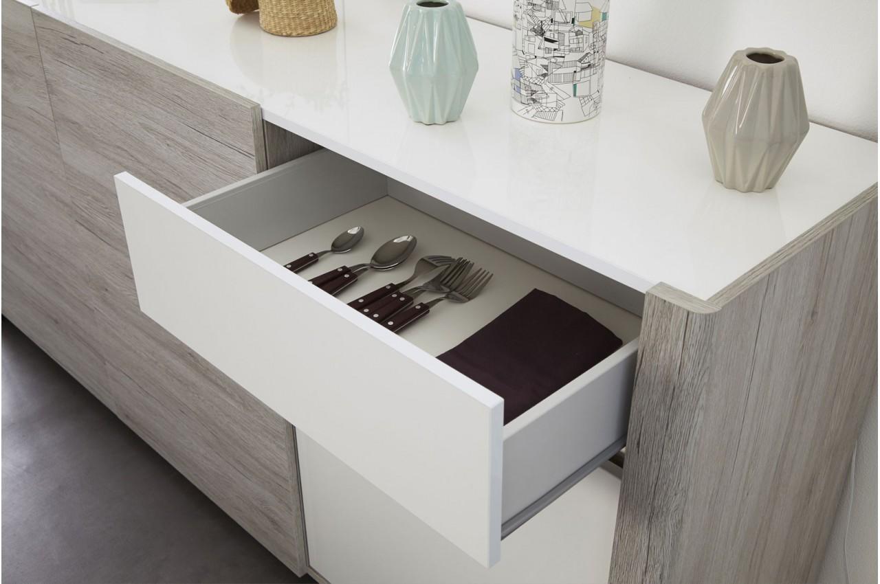 Enfilade 3 portes gris et blanc brillant louno cbc meubles for Buffet sejour but