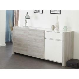 Enfilade 3 portes gris portofino et blanc brillant LOUNO
