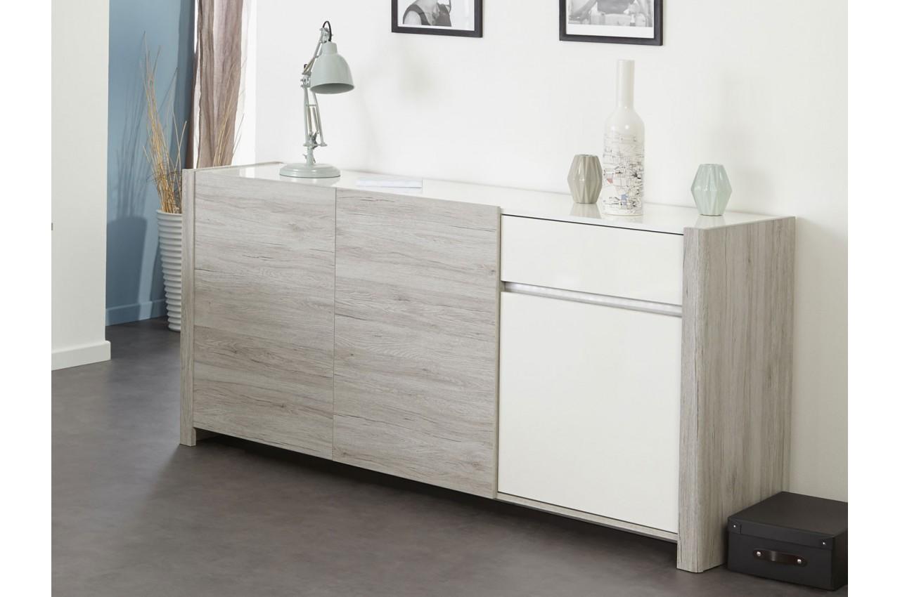 enfilade 3 portes gris et blanc brillant louno cbc meubles. Black Bedroom Furniture Sets. Home Design Ideas