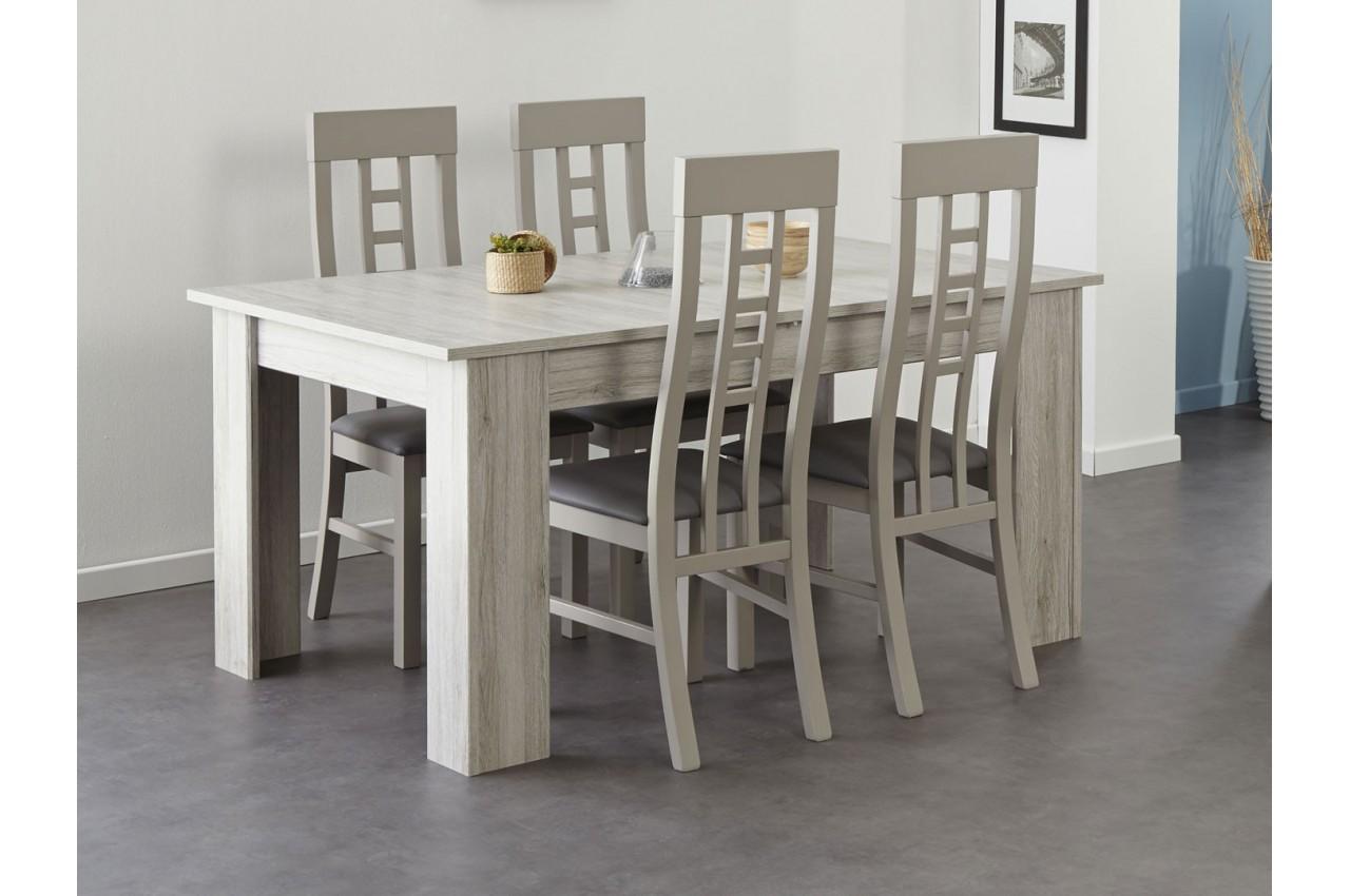 Table de repas avec allonge gris portofino louno cbc meubles for Table salle a manger avec allonge papillon