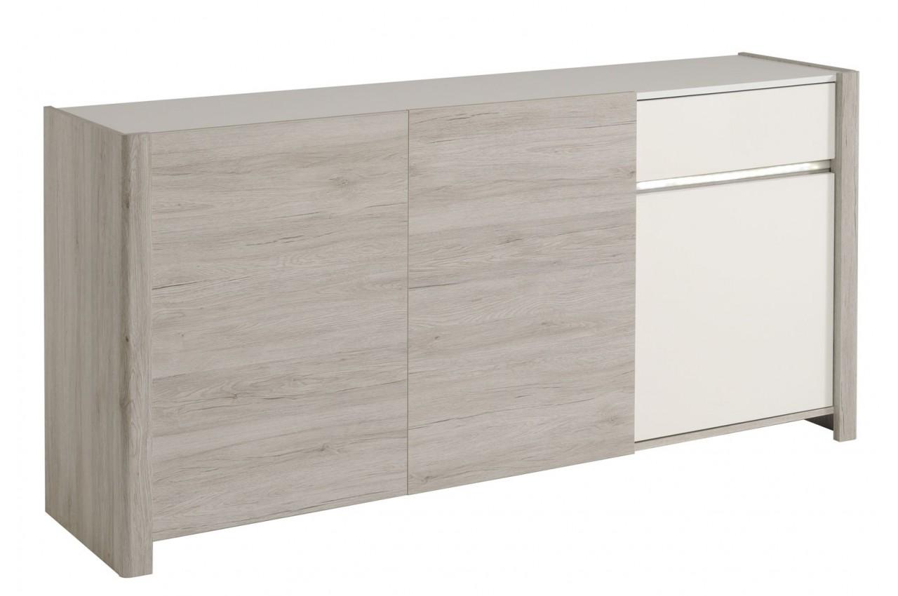 Salle à manger moderne gris portofino et blanc brillant LOUNO ...