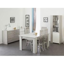 Salle à manger moderne gris portofino et blanc brillant LOUNO