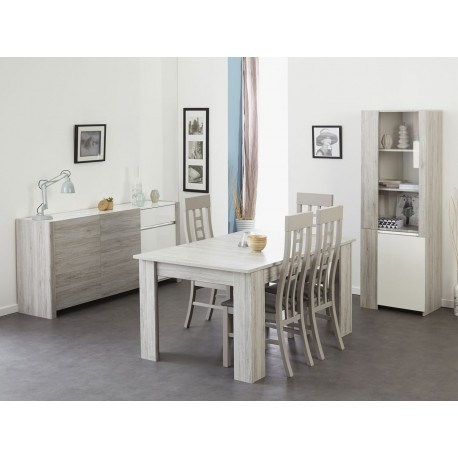 salle manger moderne gris portofino et blanc brillant louno cbc meubles. Black Bedroom Furniture Sets. Home Design Ideas