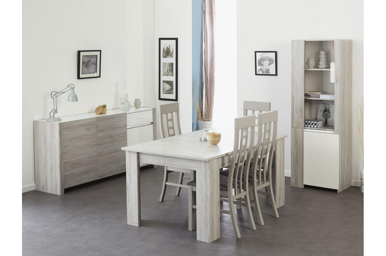 Salle manger moderne gris portofino et blanc brillant louno cbc meubles - Salle a manger gris et blanc ...