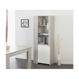 Vitrine 2 portes gris portofino et blanc brillant LOUNO