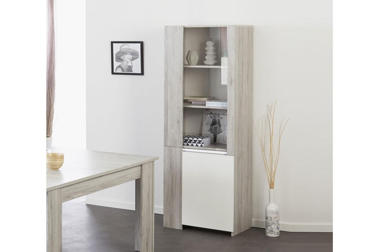 Vitrine 2 portes gris portofino et blanc brillant louno for Meuble salle a manger gris et blanc