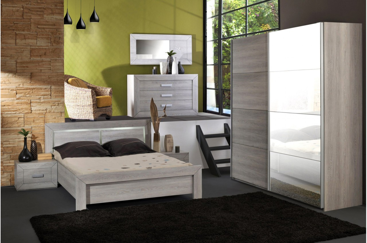 Chambre coucher compl te look contemporain leo v1 cbc for Meuble chambre adulte contemporain