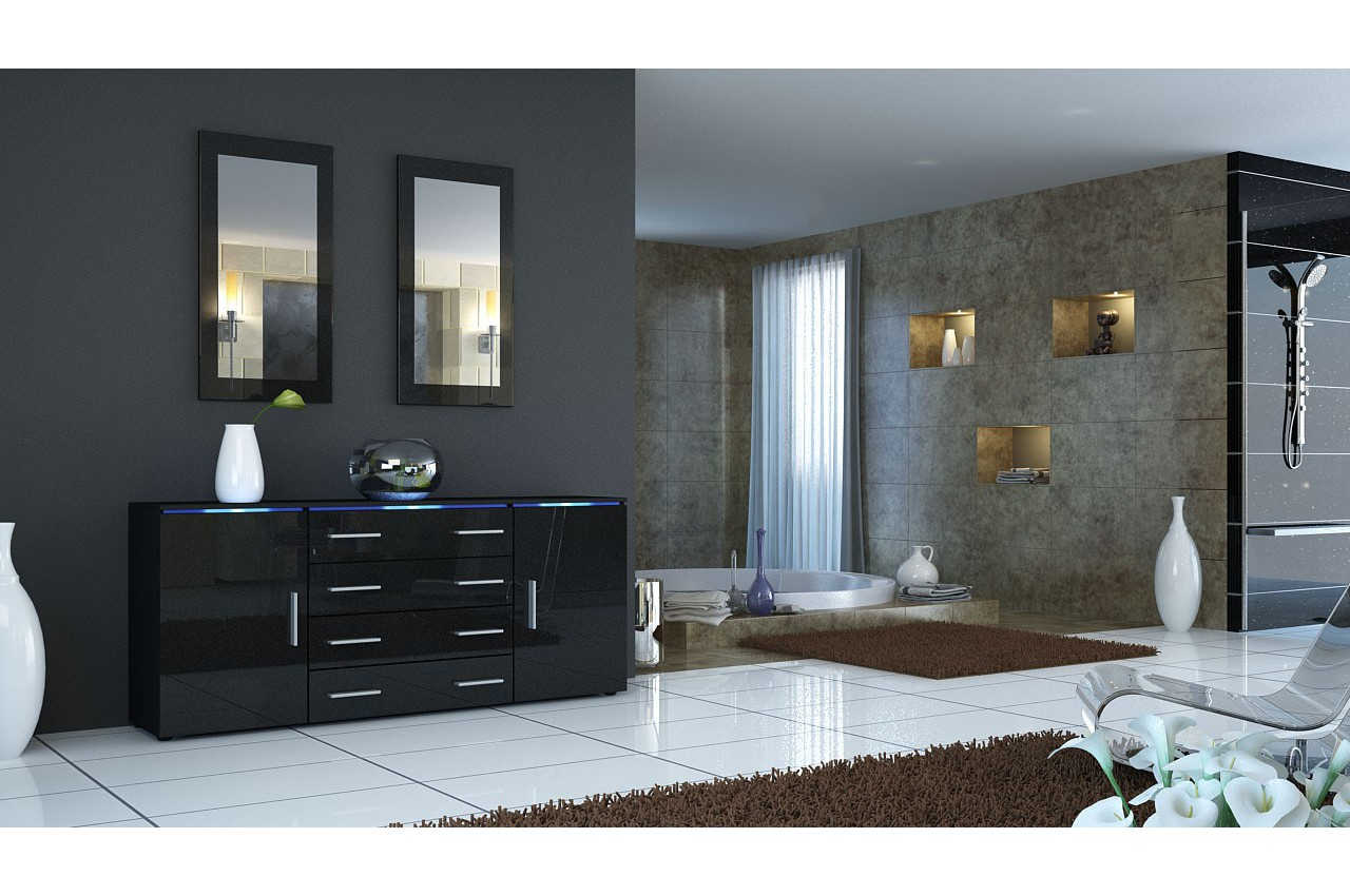 buffet moderne noir lumineux 4 tiroirs et 2 portes city cbc meubles. Black Bedroom Furniture Sets. Home Design Ideas