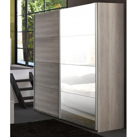 armoire de chambre 2 portes coulissantes leo cbc meubles. Black Bedroom Furniture Sets. Home Design Ideas