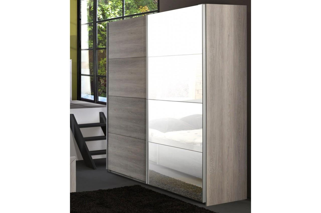 Armoire de chambre 2 portes coulissantes leo cbc meubles for Meuble armoire chambre