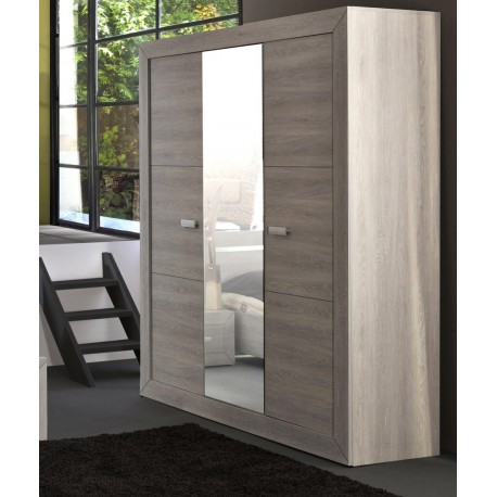armoire de chambre 3 portes 1 miroir leo cbc meubles. Black Bedroom Furniture Sets. Home Design Ideas