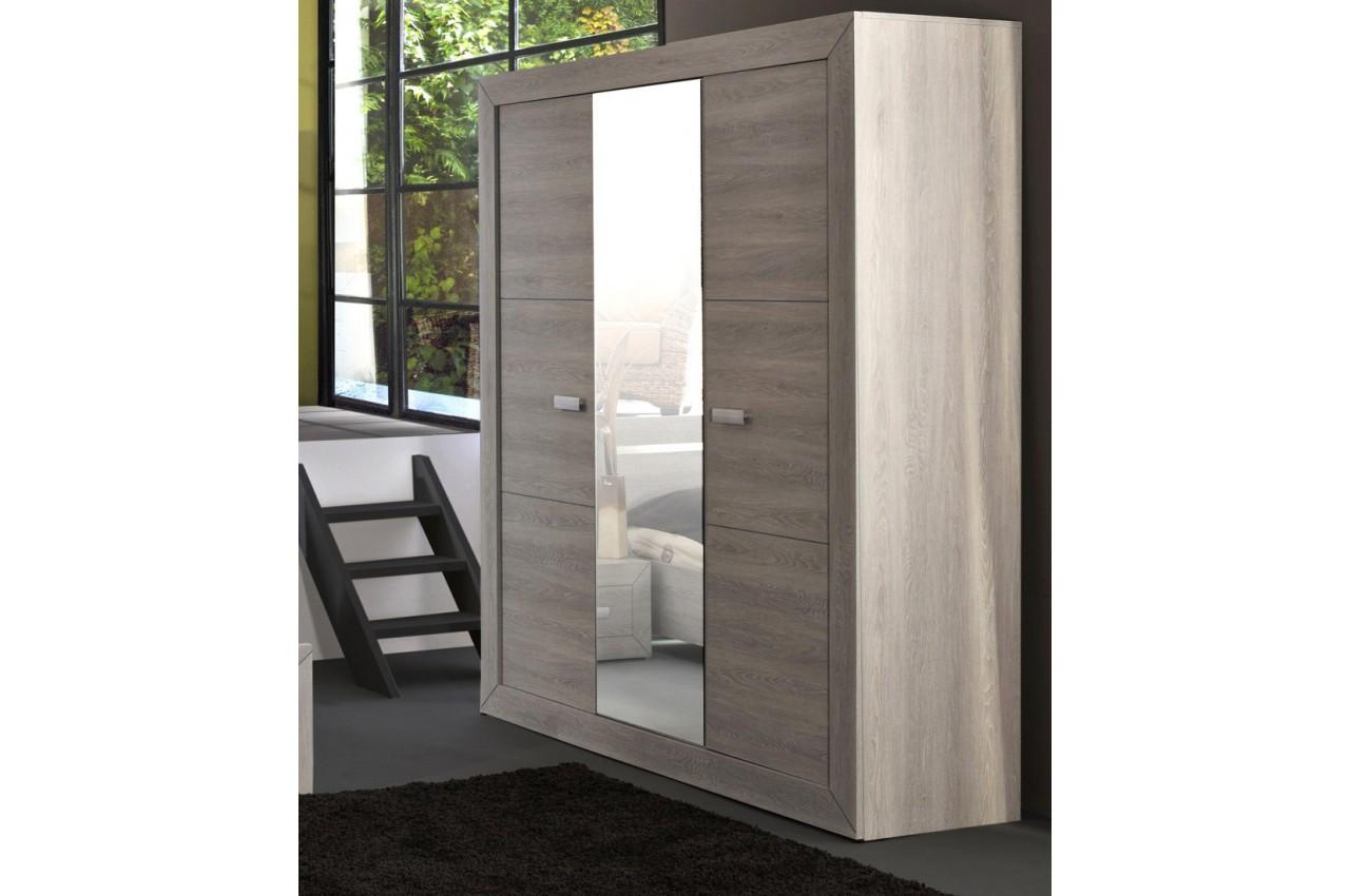 Armoire de chambre 3 portes 1 miroir leo cbc meubles - Miroir de chambre ...