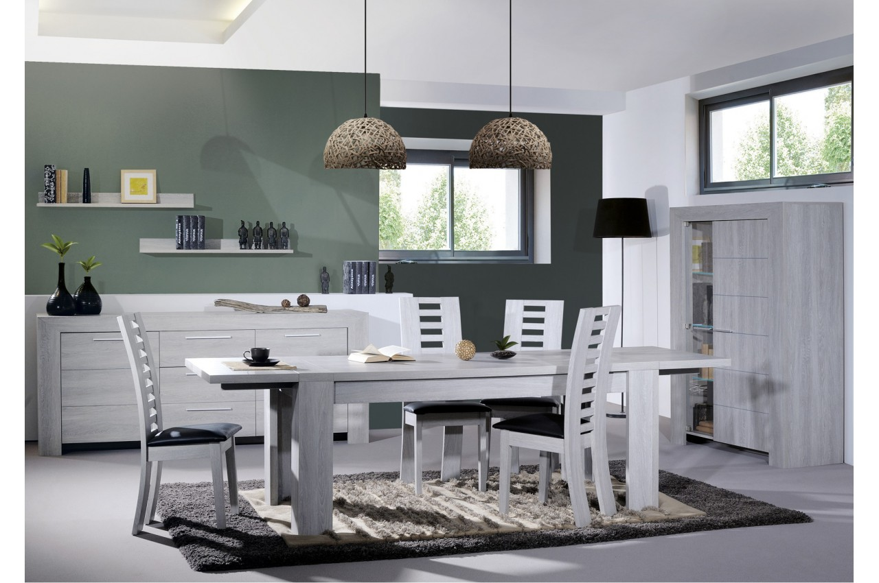 salle a manger stone chene gris avec des. Black Bedroom Furniture Sets. Home Design Ideas