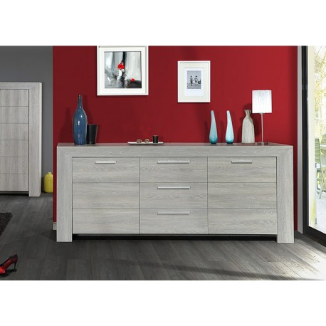 buffet enfilade 220cm ch ne gris calisto cbc meubles. Black Bedroom Furniture Sets. Home Design Ideas