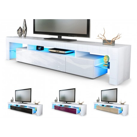 Meuble tv hi fi design blanc 199 cm irio cbc meubles - Meuble tv hifi blanc ...