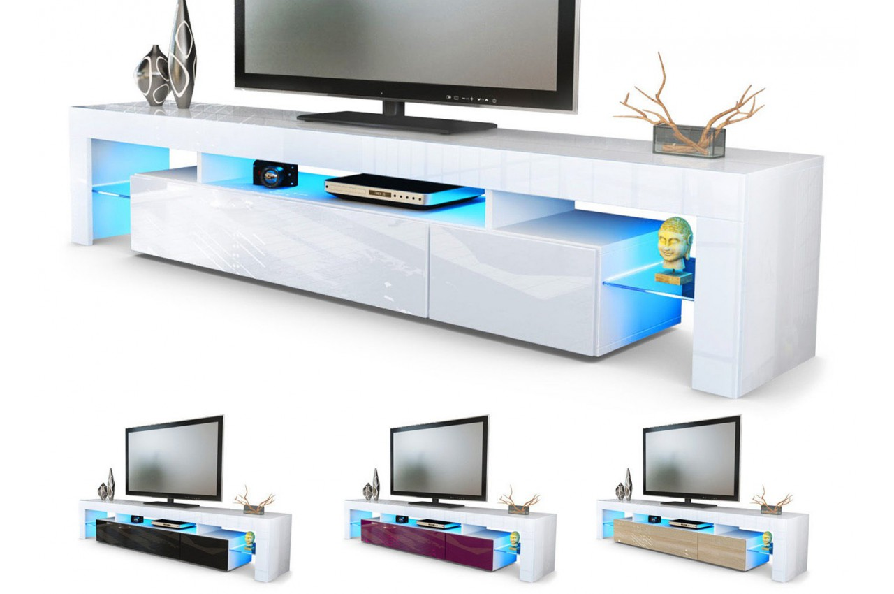 Meuble tv hi fi design blanc 189 cm irio cbc meubles for Meuble hifi blanc