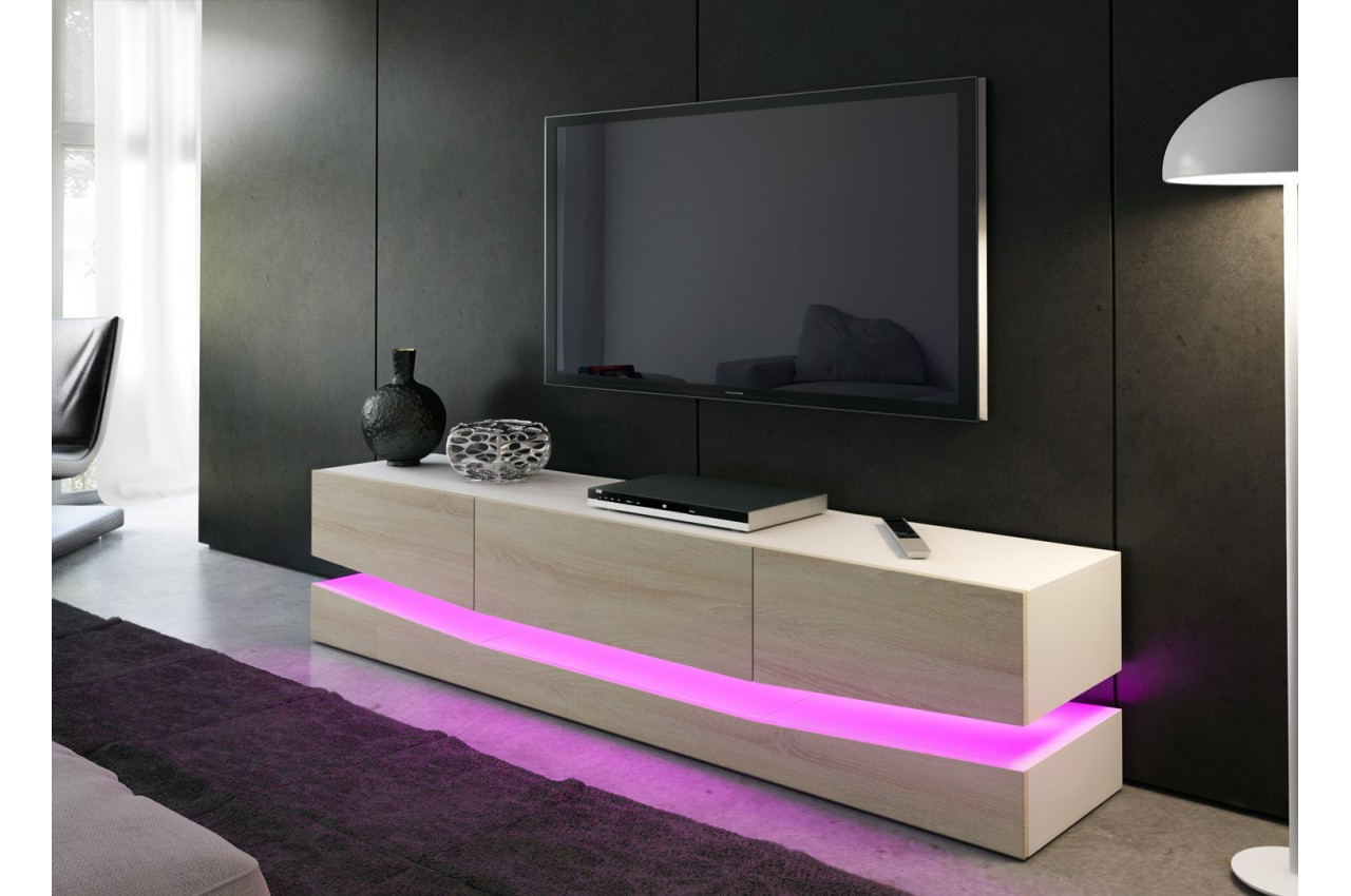 Meuble t l bas design miami cbc meubles for Meuble bas tele