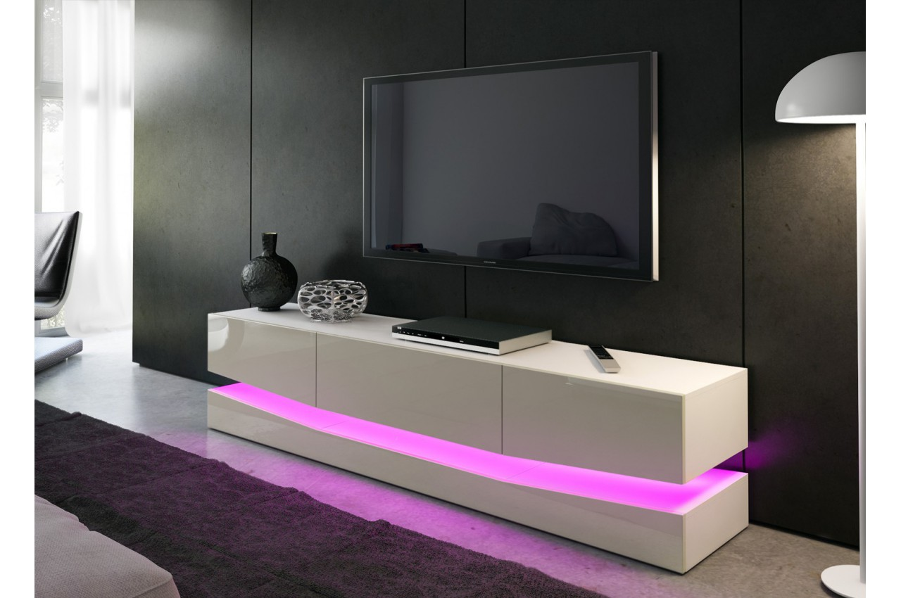 Meuble t l bas design miami cbc meubles for Meuble sous tele