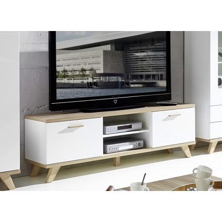 Meuble de télévision blanc et chêne sanremo