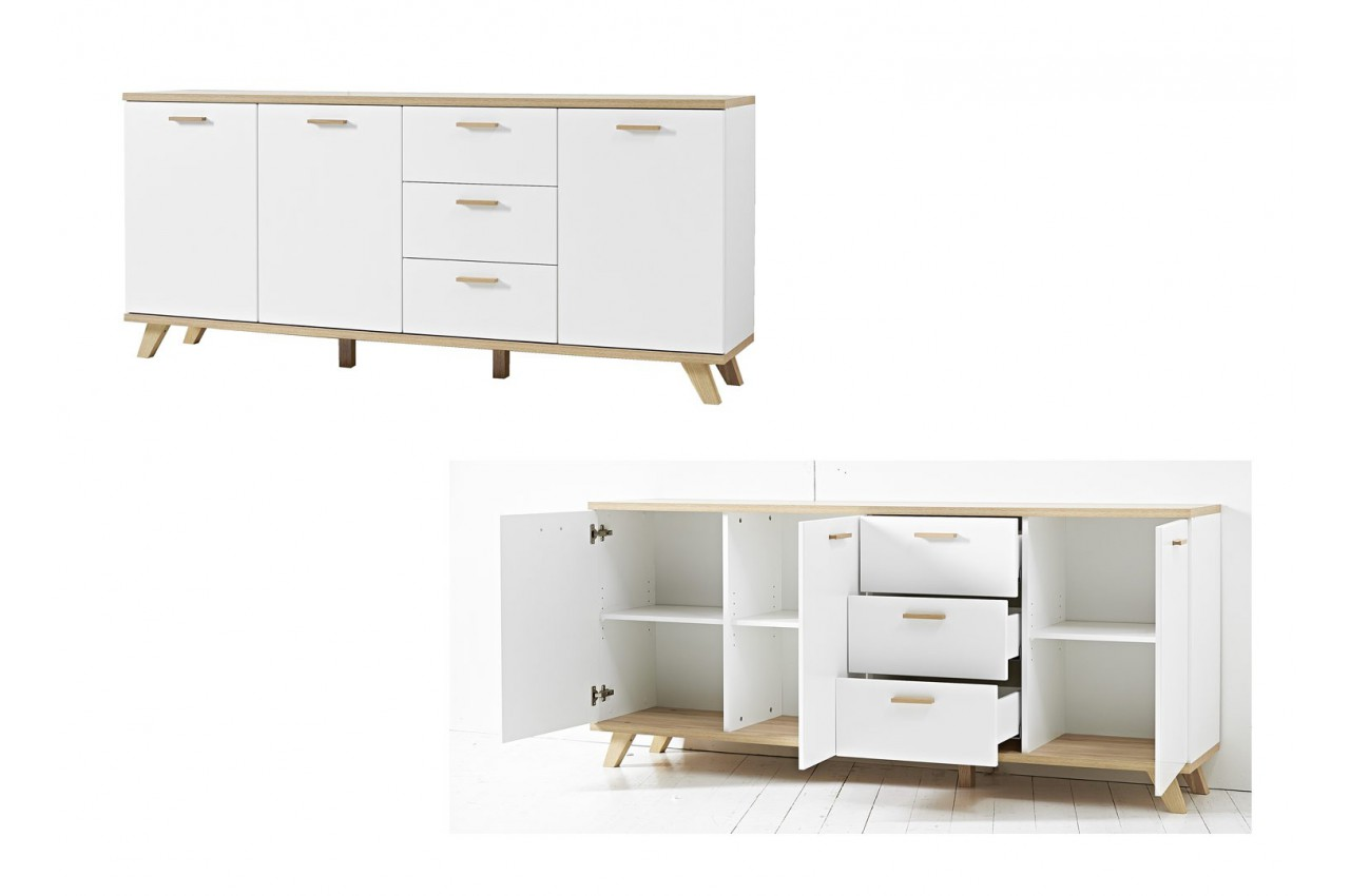 grand buffet blanc laqu mat et bois bor al cbc meubles. Black Bedroom Furniture Sets. Home Design Ideas