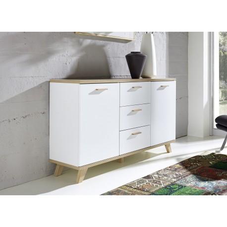 buffet blanc laqu mat et bois bor al cbc meubles. Black Bedroom Furniture Sets. Home Design Ideas