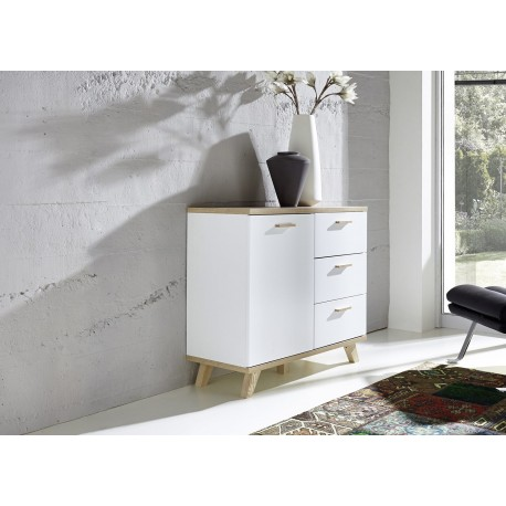 commode blanc laqu mat et bois bor al cbc meubles. Black Bedroom Furniture Sets. Home Design Ideas