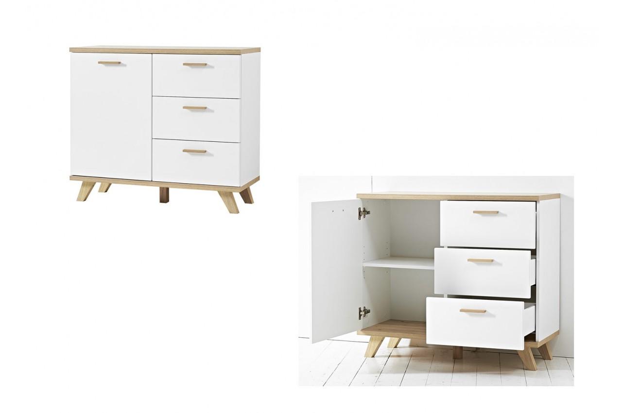 Commode blanc laqu mat et bois bor al cbc meubles - Commode en bois blanc ...