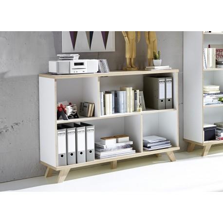 Meuble de rangement - bibliothèque blanc et bois