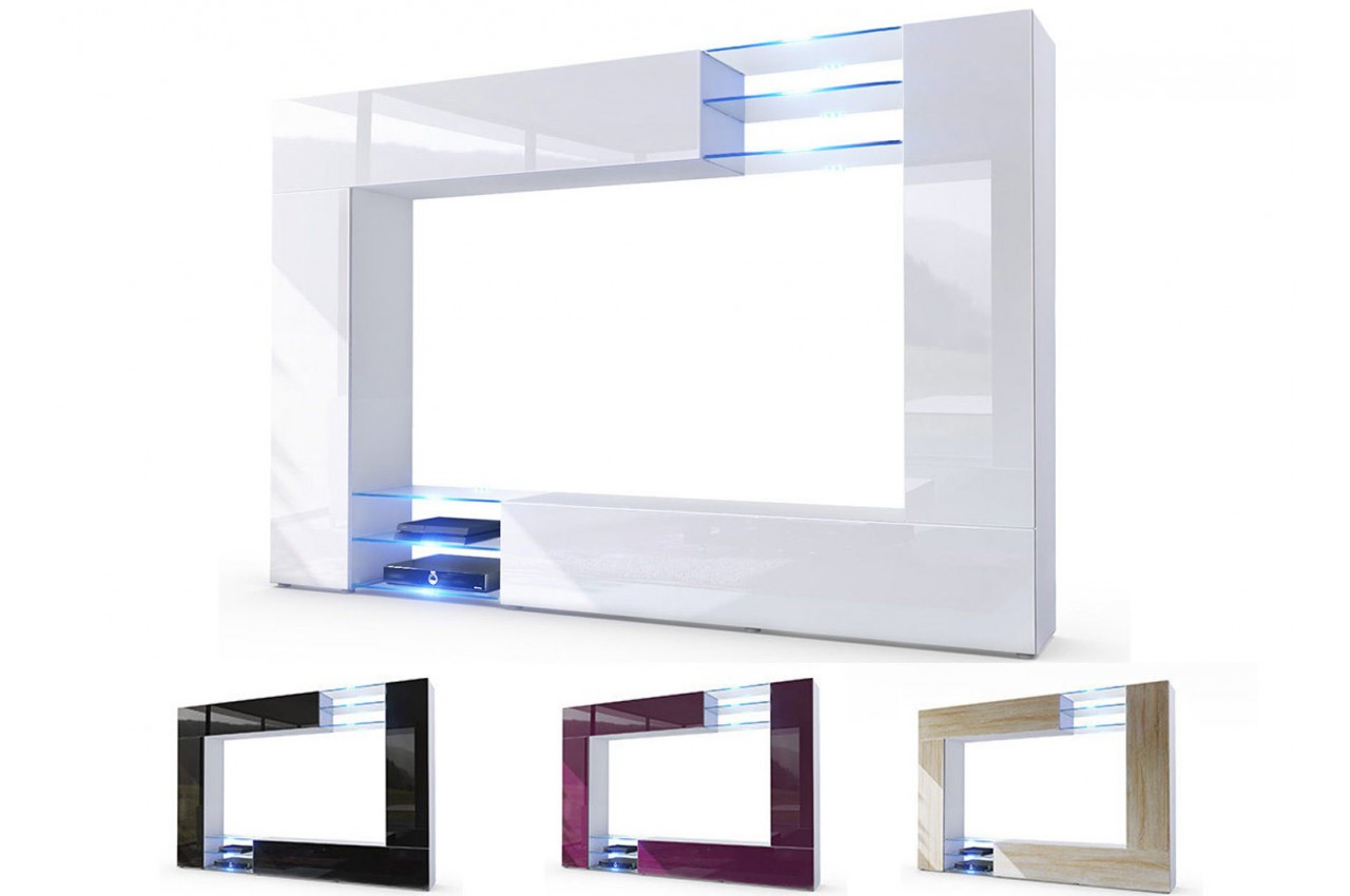 Meuble TV mural led SAMBA  CbcMeubles -> Meuble Tv Moderne Led