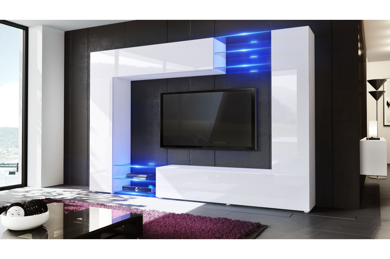 Meuble television mural maison design for Meuble tele a led