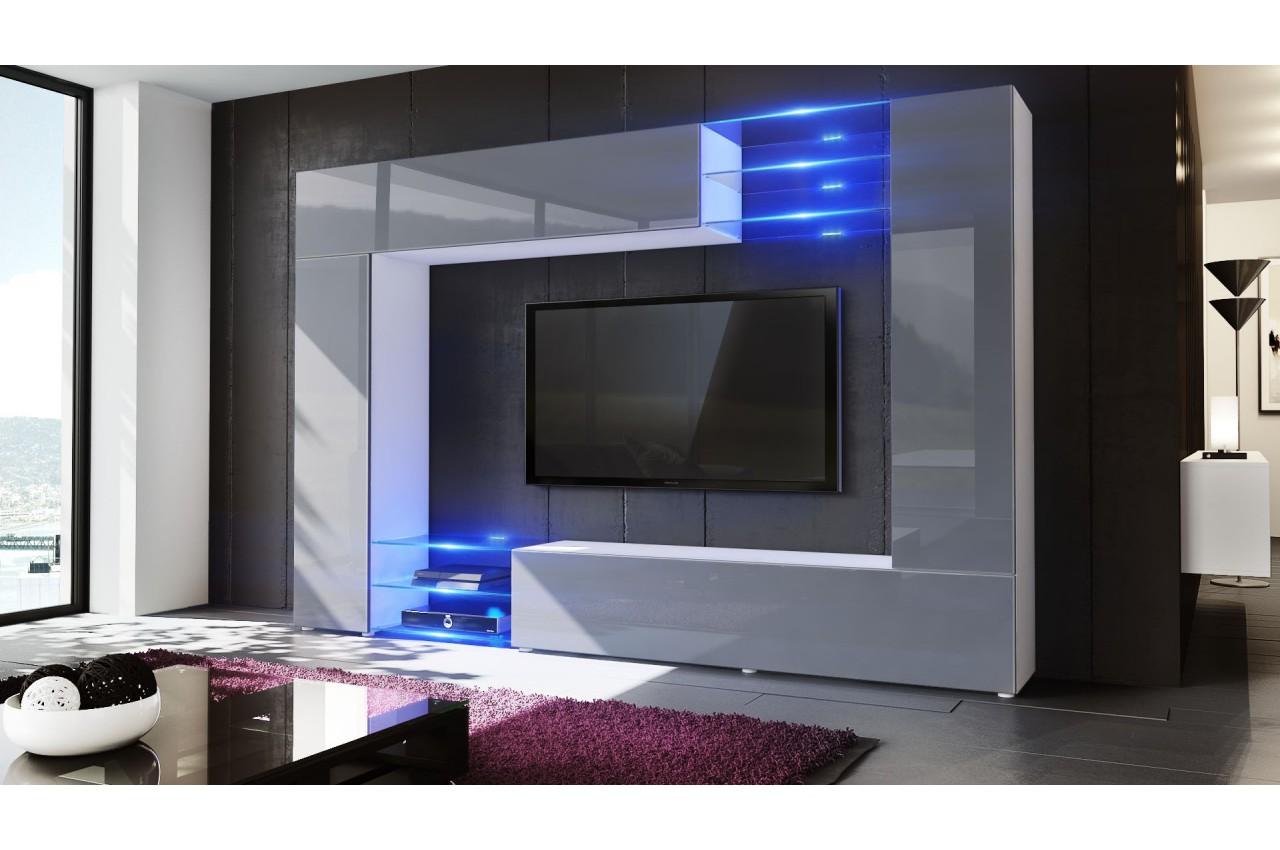 Meuble tv mural led samba cbc meubles for Tv meuble mural siena