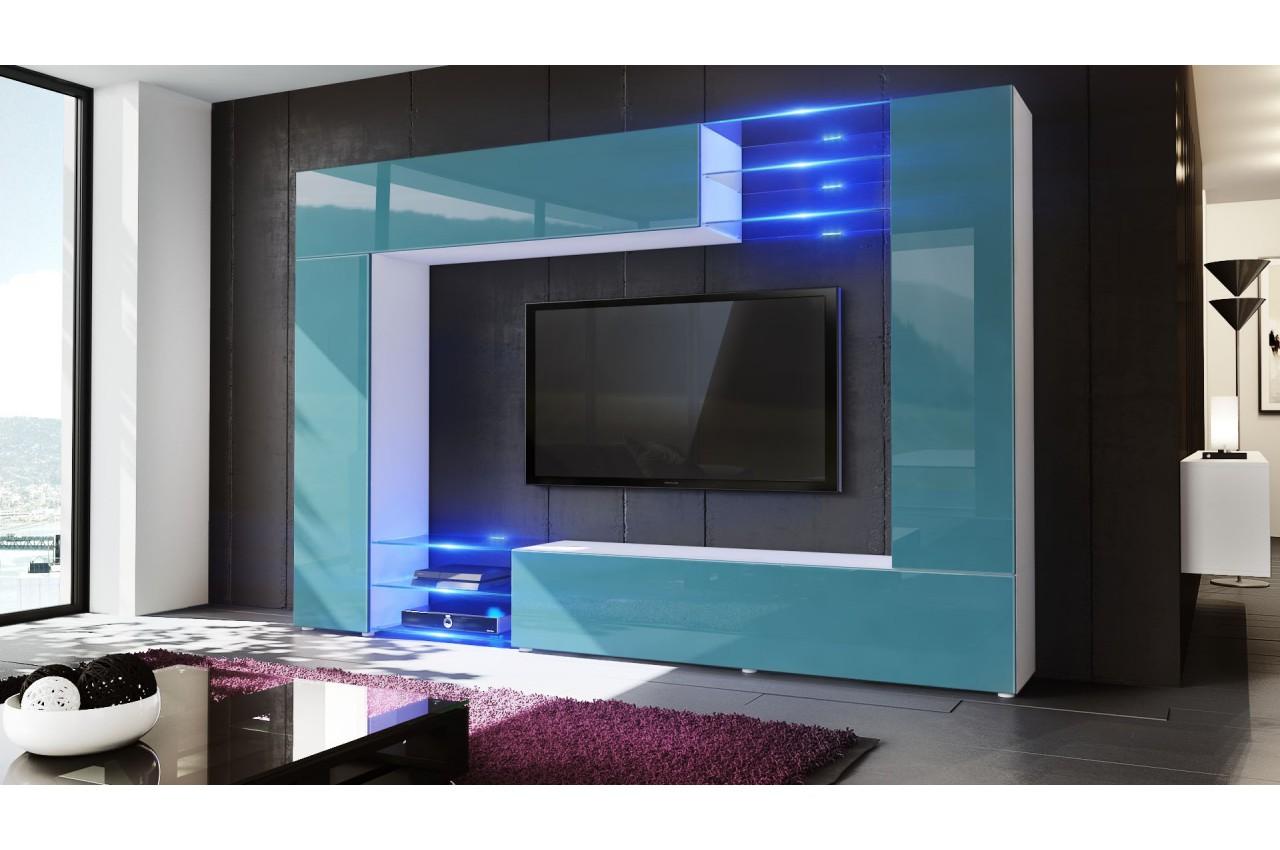 Meuble tv mural led samba cbc meubles - Salon meuble tv ...