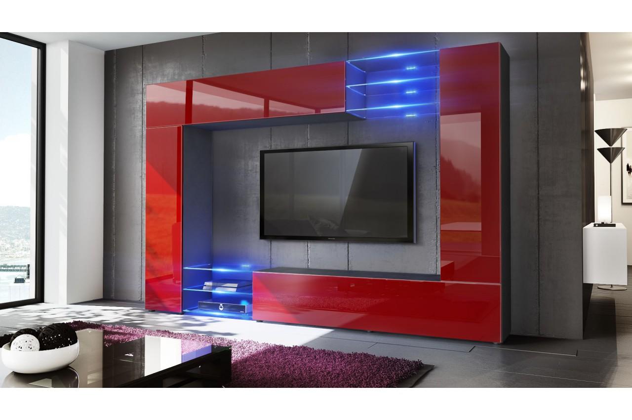 Meuble tv mural design led samba cbc meubles for Meuble mural vert
