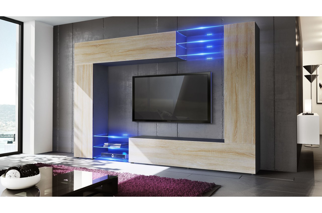 Meuble TV mural design led SAMBA  CbcMeubles -> Meuble Tv Moderne Led