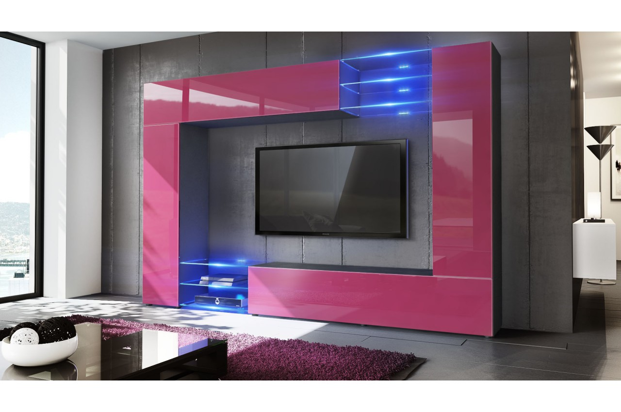 meuble tv mural design led samba cbc meubles. Black Bedroom Furniture Sets. Home Design Ideas