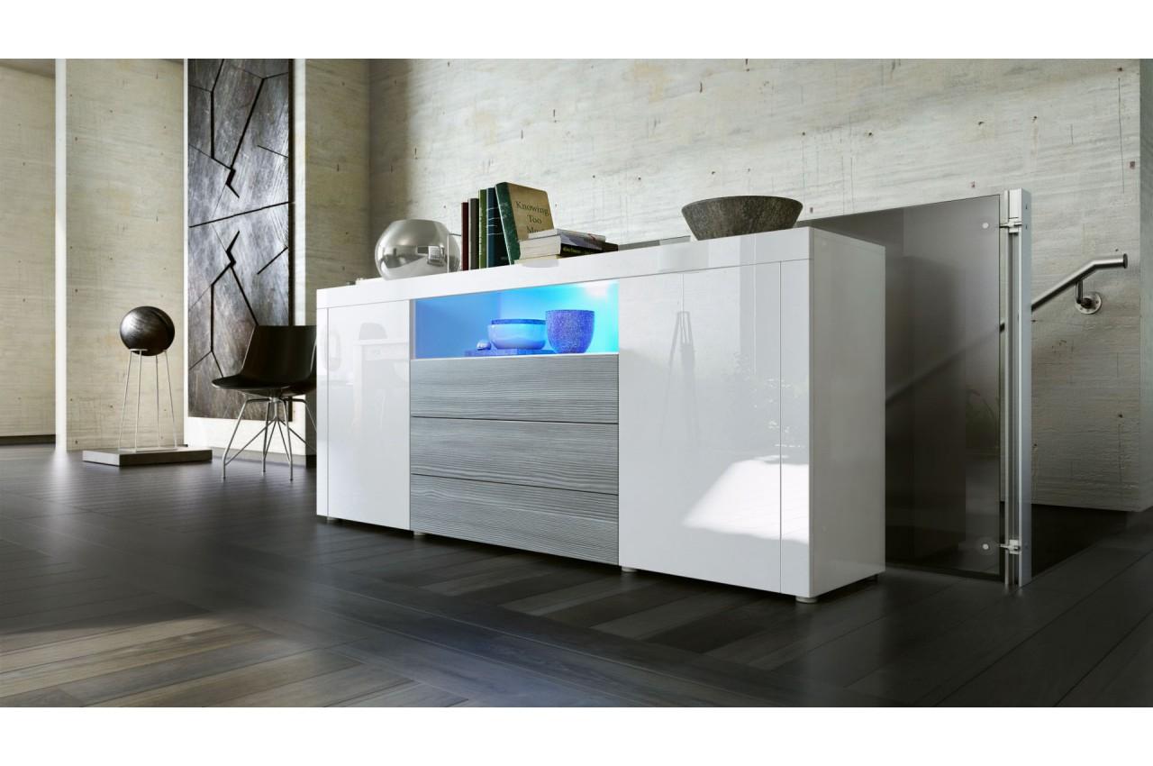Buffet moderne avec niche lumineuse samba cbc meubles for Samba buffet