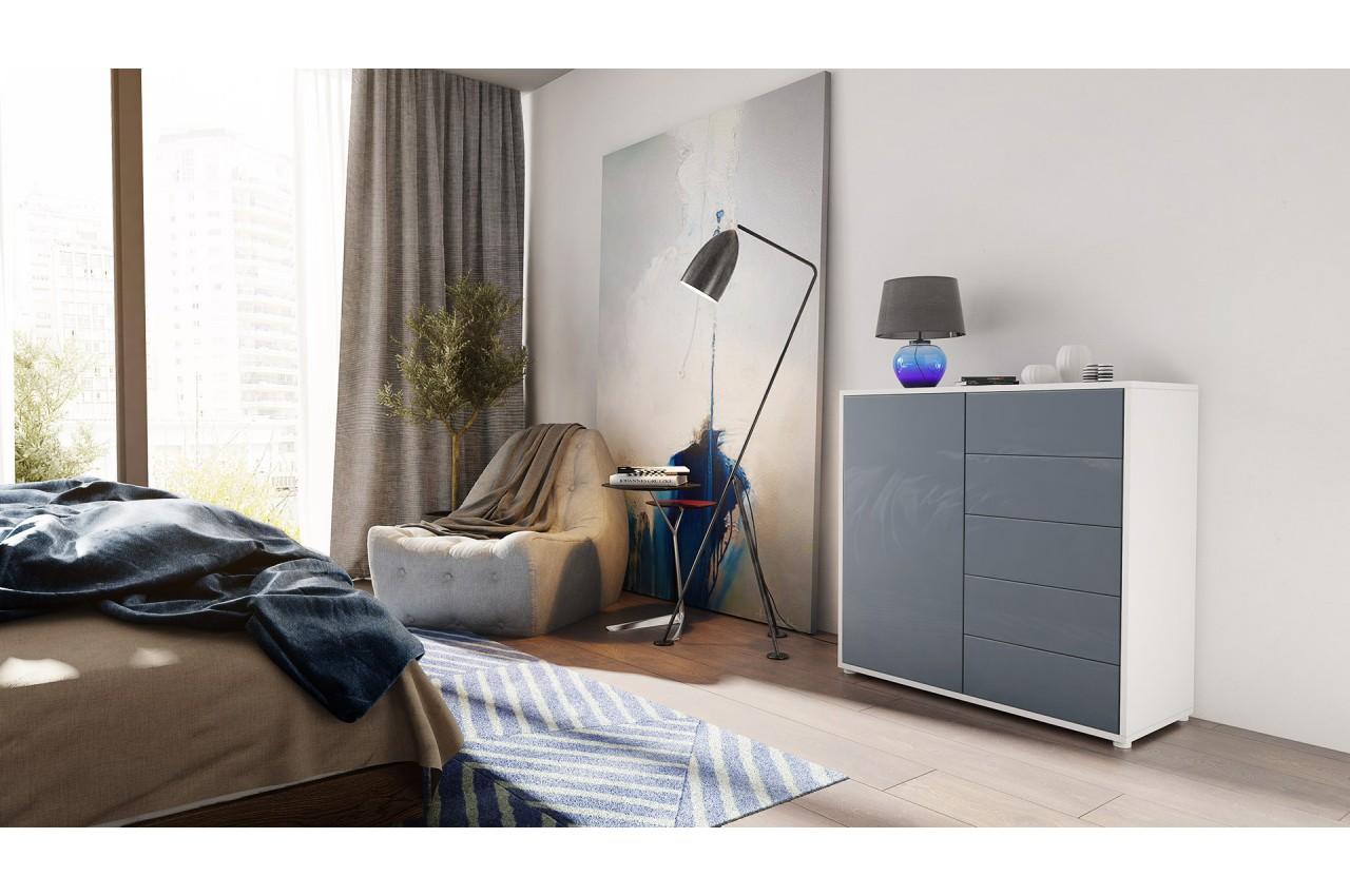 Commode moderne 1 porte 5 tiroirs babou cbc meubles - Commode salle a manger ...