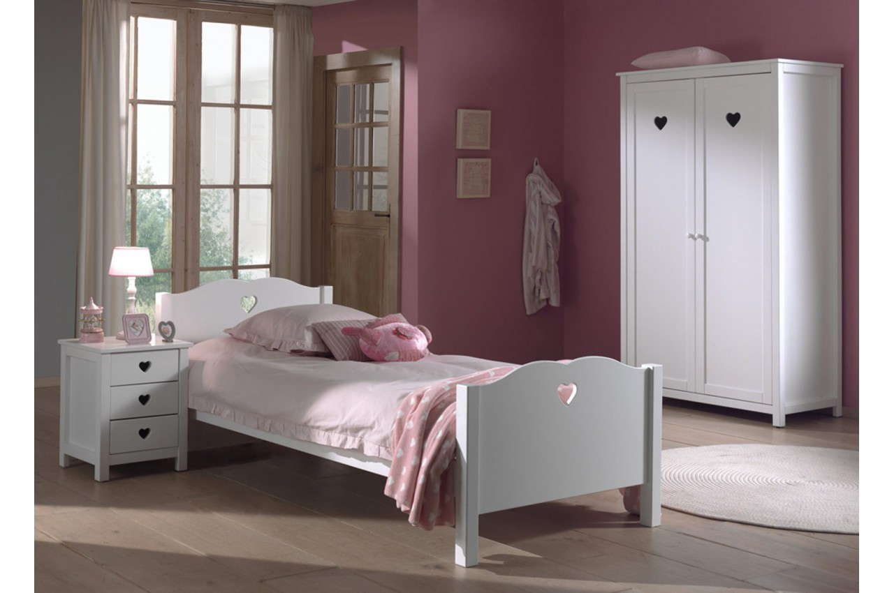 Chambre fille laqu blanche sarah cbc meubles - Chambre filles blanche ...