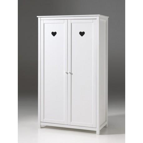 Armoire 2 portes laqu e blanche sarah cbc meubles - Armoire blanche laquee ...