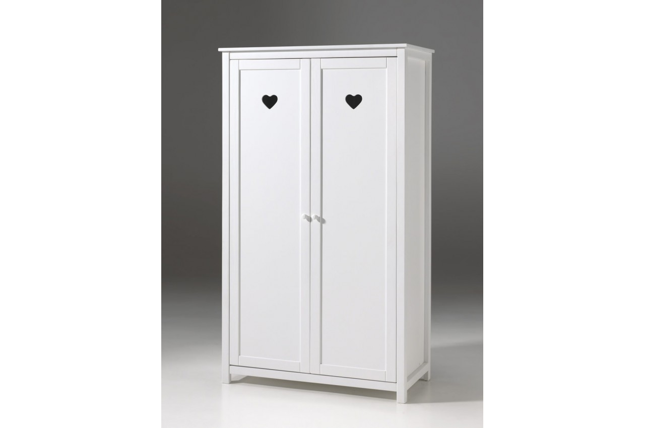 armoire 2 portes laqu e blanche sarah cbc meubles. Black Bedroom Furniture Sets. Home Design Ideas