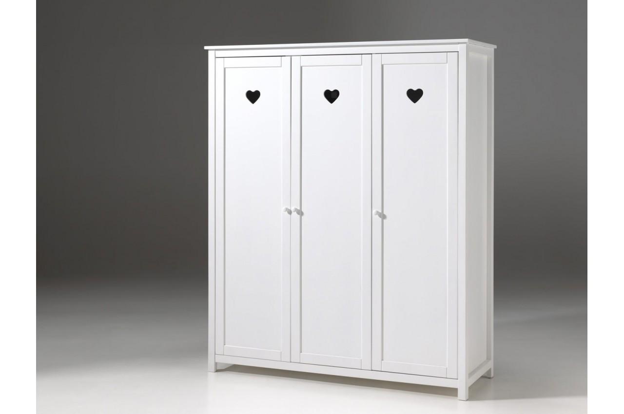 armoire 3 portes blanc laqu sarah cbc meubles. Black Bedroom Furniture Sets. Home Design Ideas
