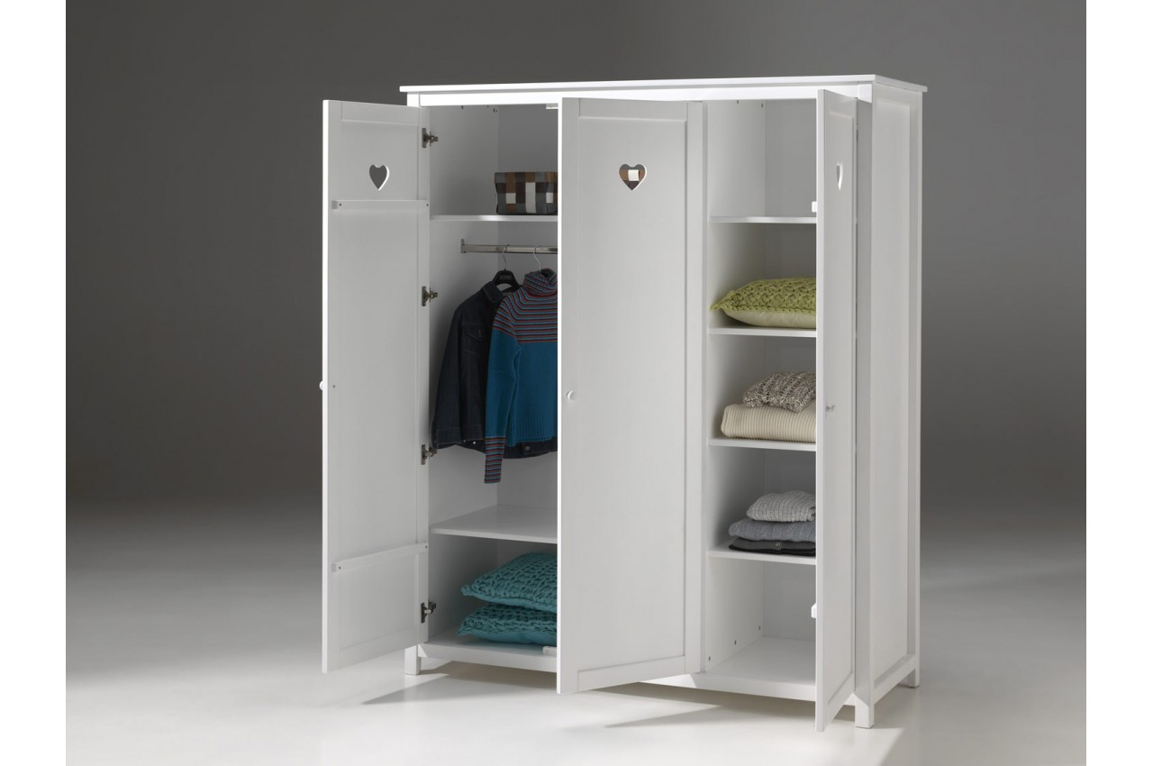 armoire 3 portes blanc laqu sarah cbc meubles. Black Bedroom Furniture Sets. Home Design Ideas