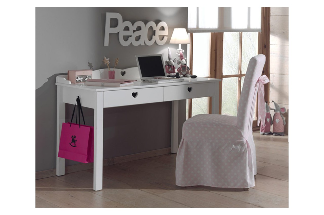bureau de jeune fille laqu blanc sarah cbc meubles. Black Bedroom Furniture Sets. Home Design Ideas