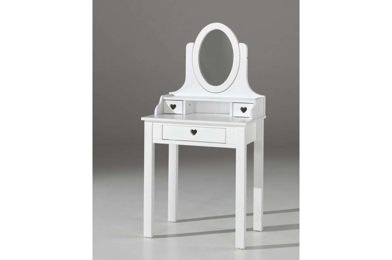coiffeuse fille avec miroir laqu blanc sarah cbc meubles. Black Bedroom Furniture Sets. Home Design Ideas