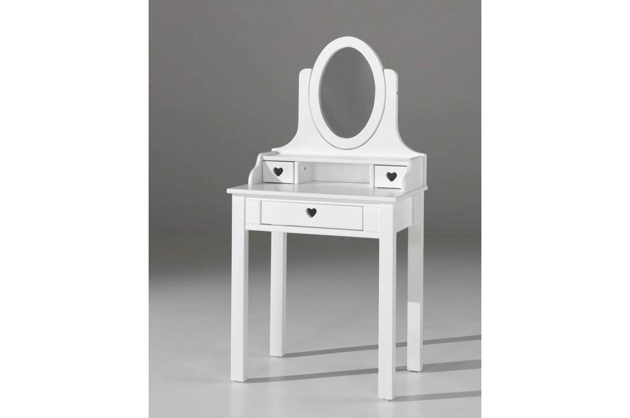 Coiffeuse fille avec miroir laqu blanc sarah cbc meubles - Coiffeuse blanc laque ...