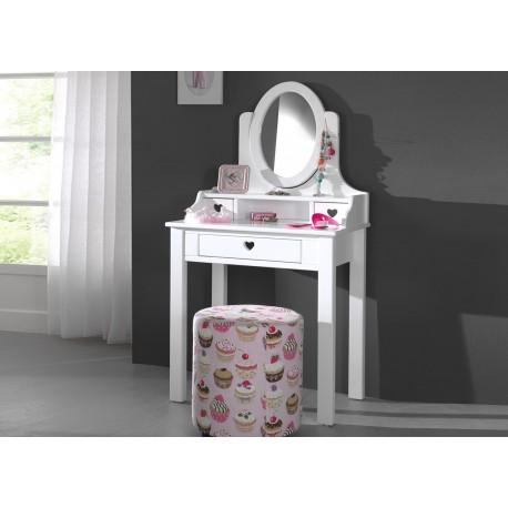 Coiffeuse fille avec miroir laqu blanc sarah cbc meubles for Coiffeuse meuble enfant