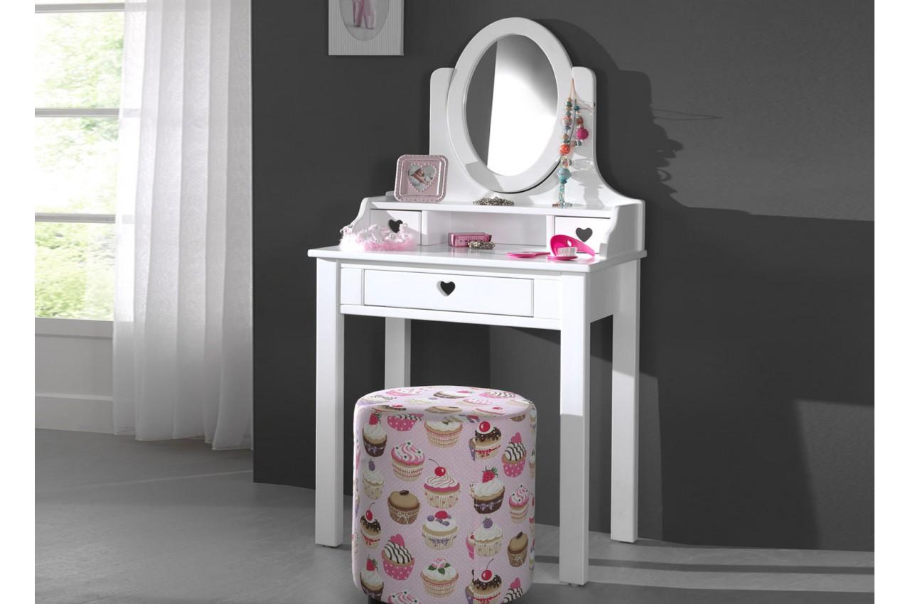 Coiffeuse fille avec miroir laqu blanc sarah cbc meubles for Miroir laque blanc